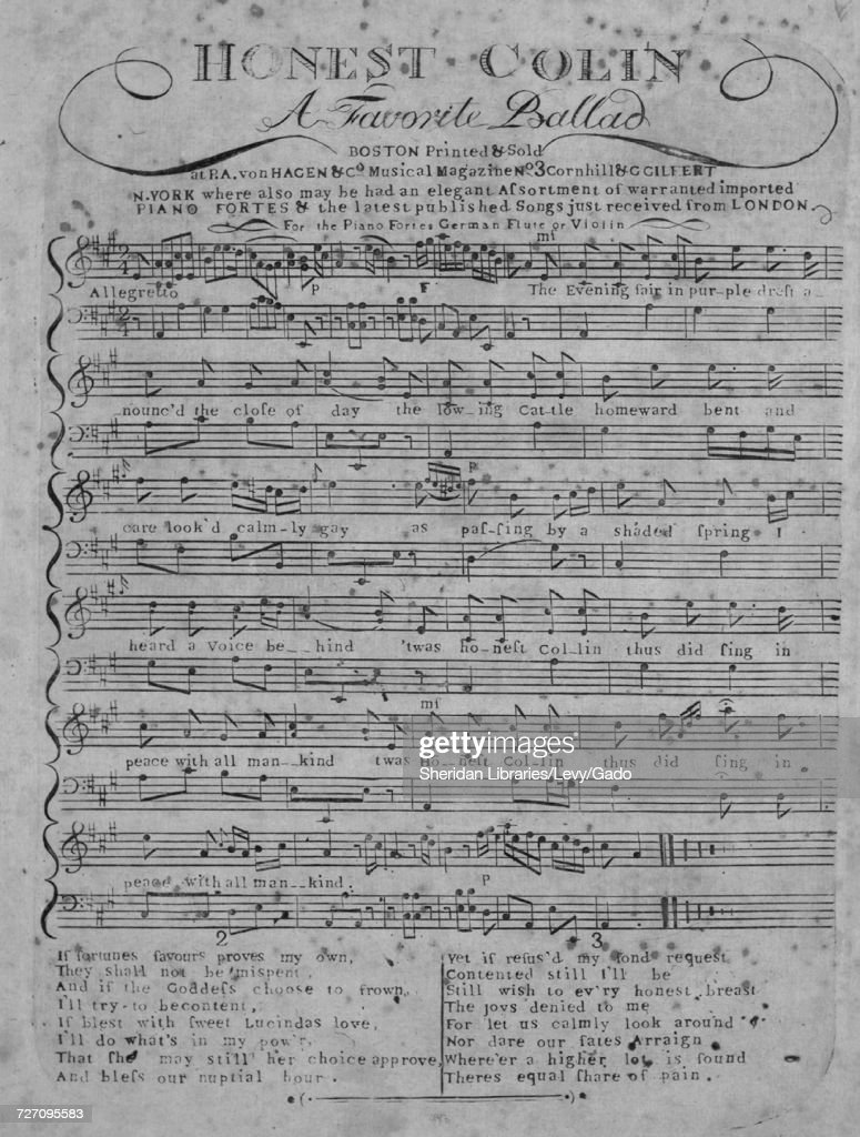 Sheet music cover image of the song 'Honest Colin A Favorite Ballad