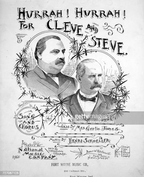 Sheet music cover image of the song 'Hurrah Hurrah For Cleve and Steve Song and Chorus' with original authorship notes reading 'Words by Mrs Gertie...