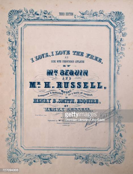 Sheet music cover image of the song 'I Love I Love The Free Third Edition' with original authorship notes reading 'the Music Composed by Henry...