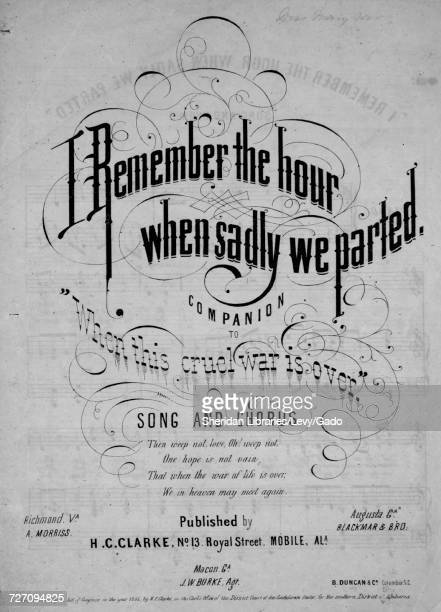Sheet music cover image of the song 'I Remember the Hour When Sadly We Parted Companion to When This Cruel War is Over Song and Chorus' with original...