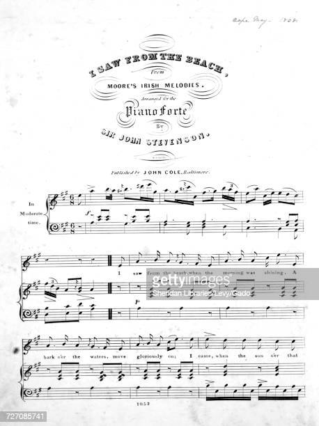 Sheet music cover image of the song 'I Saw From The Beach From Moore's Irish Melodies' with original authorship notes reading 'Arranged for the Piano...