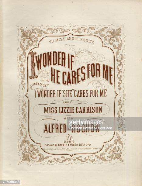 Sheet music cover image of the song 'I Wonder If He Cares For Me Answer to I Wonder If She Cares For Me' with original authorship notes reading...