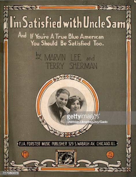 Sheet music cover image of the song 'I'm Satisfied with Uncle Sam' with original authorship notes reading 'By Marvin Lee and Terry Sherman' United...