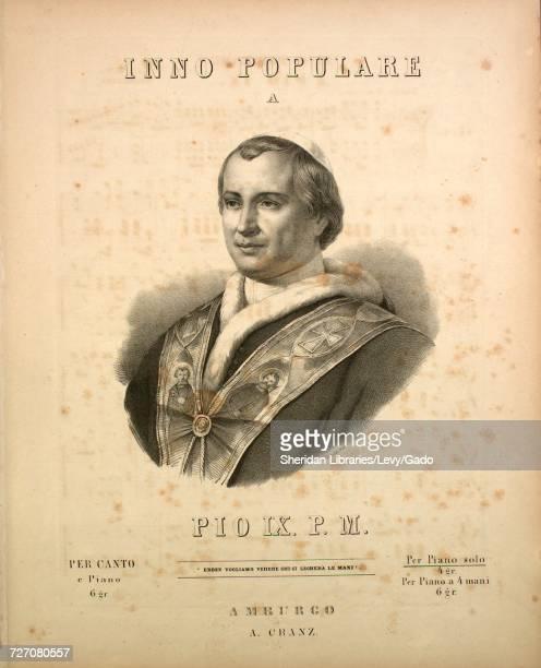 Sheet music cover image of the song 'Ino Populare a Pio IX PM' with original authorship notes reading 'Composta del Maestro Magazzari' 1900 The...