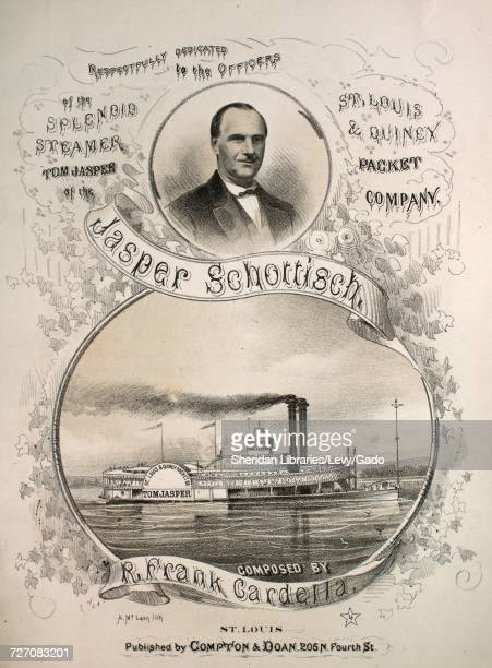Sheet music cover image of the song 'Jasper Schottisch' with original authorship notes reading 'Composed by R Frank Cardella' 1868 The publisher is...