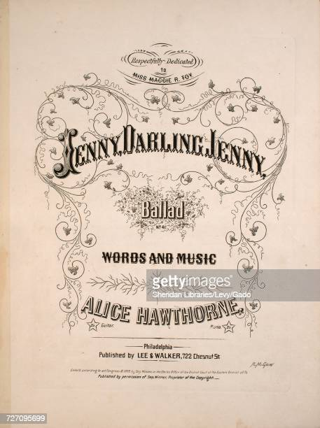 Sheet music cover image of the song 'Jenny Darling Jenny Ballad' with original authorship notes reading 'Words and Music by Alice Hawthorne' United...