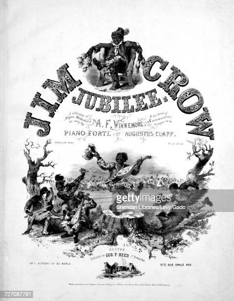 Sheet music cover image of the song 'Jim Crow Jubilee A Collection of Negro Melodies', with original authorship notes reading 'Arranged for the Piano...