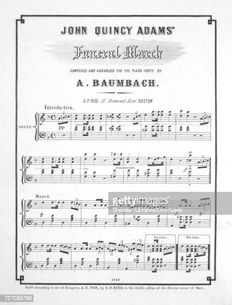 Sheet music cover image of the song 'John Quincy Adams' Funeral March' with original authorship notes reading 'Composed and Arranged For the Piano...