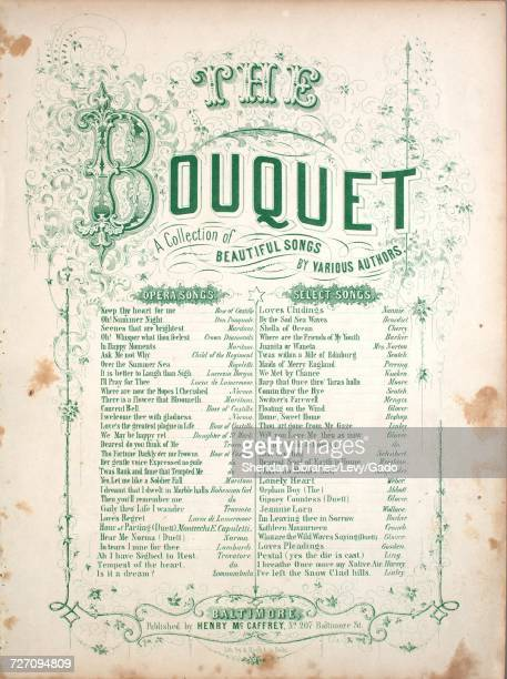 Sheet music cover image of the song 'Kathleen Mavourneen Series title The Bouquet A Collection of Beautiful Songs' with original authorship notes...