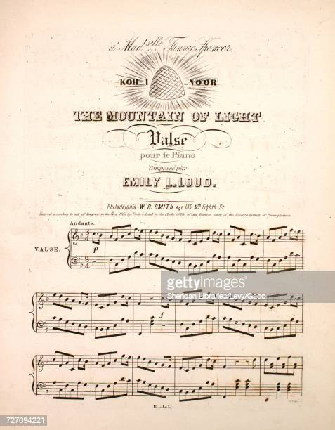 Sheet music cover image of the song 'Koh I Noor The Mountain of Light Valse pour le Piano' with original authorship notes reading 'Composee par Emily...