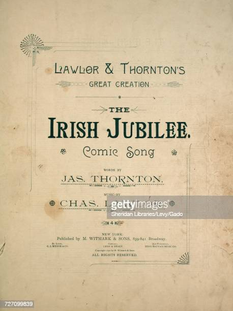 Sheet music cover image of the song 'Lawlor and Thornton's Great Creation The Irish Jubilee Comic Song' with original authorship notes reading 'Words...