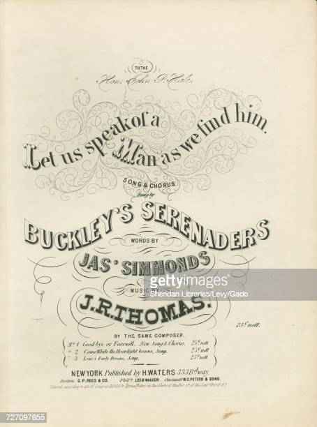 Sheet music cover image of the song 'Let us Speak of a Man as We Find Him Song and Chorus' with original authorship notes reading 'Words by Jas...
