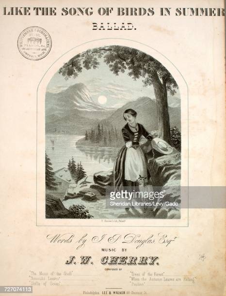 Sheet music cover image of the song 'Like the Song of Birds in Summer Ballad' with original authorship notes reading 'Words by JP Douglas Esq Music...