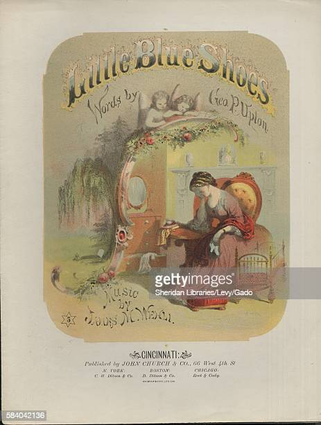 Sheet music cover image of the song 'Little Blue Shoes' with original authorship notes reading 'Words by Geo P Upton Music by James M Wehli' United...