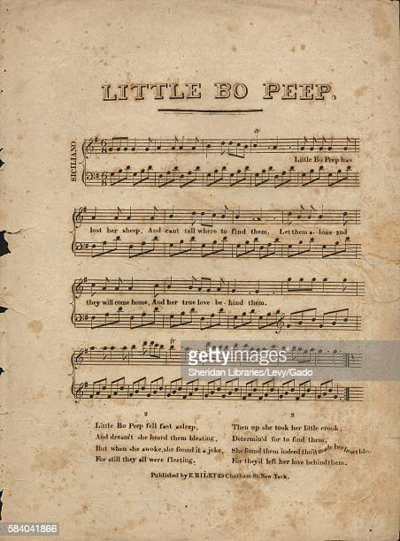 Sheet music cover image of the song 'Little Bo Peep' with original authorship notes reading 'na' United States 1900