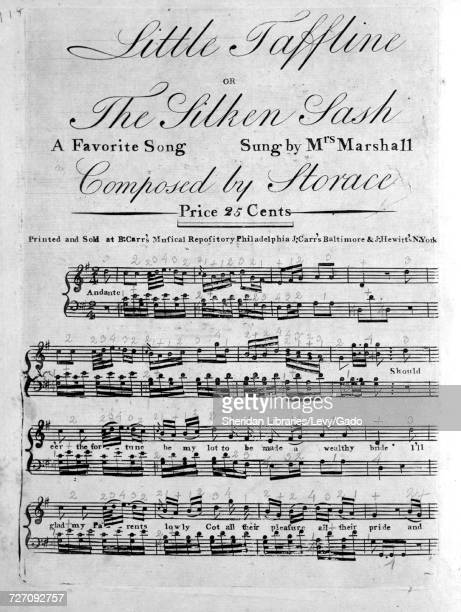 Sheet music cover image of the song 'Little Taffline or The Silken Sash A Favorite Song ' with original authorship notes reading 'Composed by...