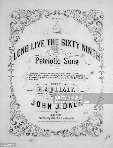 Sheet music cover image of the song 'Long Live the Sixty Ninth Patriotic Song 3d Edition' with original authorship notes reading 'Words by M Mullaly...
