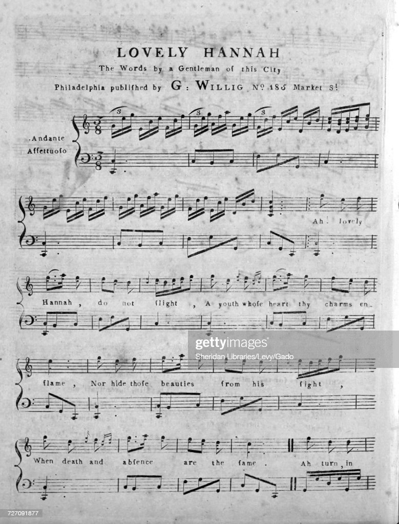 Sheet music cover image of the song 'Lovely Hannah ', with