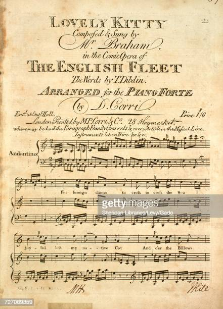 Sheet music cover image of the song 'Lovely Kitty' with original authorship notes reading 'Composed by Mr Braham The Words by T Dibdin Arranged for...