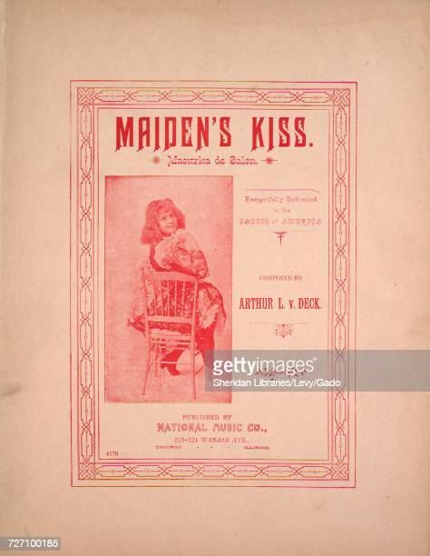 Sheet music cover image of the song 'maiden's Kiss Mazurka de Salon' with original authorship notes reading 'Composed by Arthur L v Deck' United...