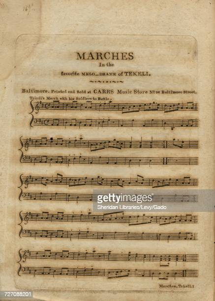 Sheet music cover image of the song 'marches in the favorite Melodrame of Tekell' with original authorship notes reading 'na' United States 1900 The...
