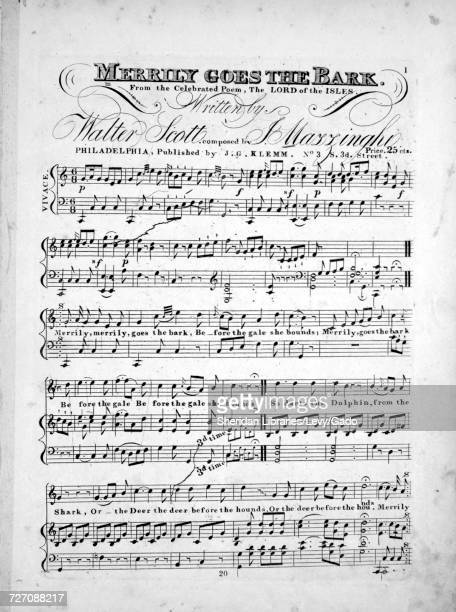 Sheet music cover image of the song 'merrily Goes the Bark From the Celebrated Poem The Lord of the Isles' with original authorship notes reading...