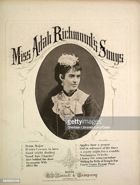 Sheet music cover image of the song 'Miss Adah Richmond's Songs No 14 Uncle Sam's Penny Post', with original authorship notes reading 'Arranged and...