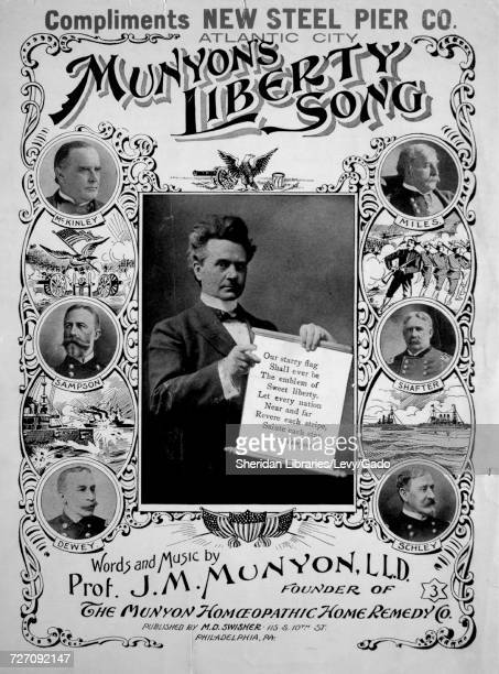 Sheet music cover image of the song 'munyon's Liberty Song' with original authorship notes reading 'Words and Music by Prof JM Munyon LLD' United...