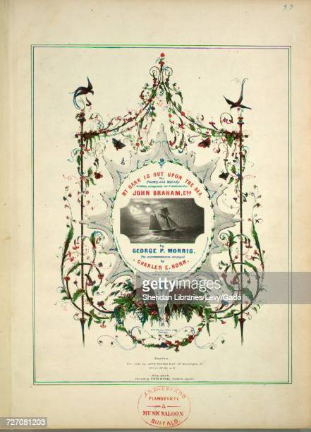 Sheet music cover image of the song 'my Bark is Out Upon the Sea' with original authorship notes reading 'Poetry and Melody Written Composed by...
