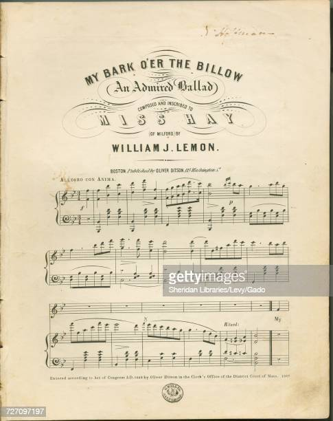 Sheet music cover image of the song 'my Bark O'er the Billow An Admired Ballad' with original authorship notes reading 'Composed by William J Lemon'...