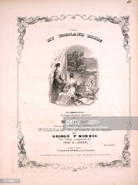Sheet music cover image of the song 'my Woodland Bride 3d Edition An Admired Ballad' with original authorship notes reading 'the Words Written by...