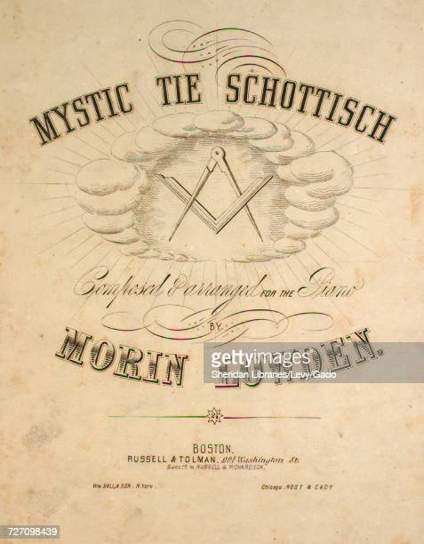 Sheet music cover image of the song 'mystic Tie Schottisch' with original authorship notes reading 'Composed and Arranged for the Piano by Morin...