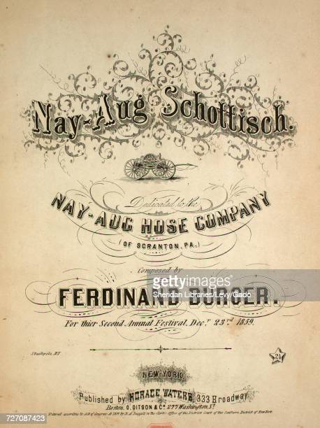 Sheet music cover image of the song 'NayAug Schottisch' with original authorship notes reading 'Composed by Ferdinand Burger For their Second Annual...