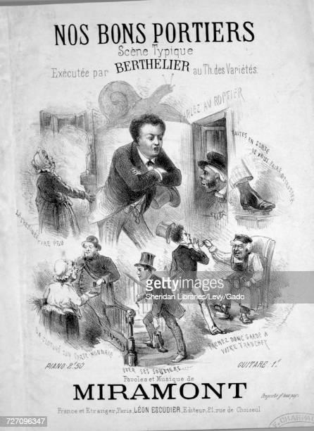 Sheet music cover image of the song 'Nos Bons Portiers Scene Typique' with original authorship notes reading 'Paroles et Musique de Miramont' France...