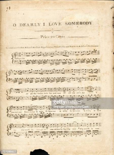 Sheet music cover image of the song 'O Dearly I Love Somebody' with original authorship notes reading 'na' United States 1900 The publisher is listed...