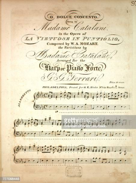 Sheet music cover image of the song 'O Dolce Concento' with original authorship notes reading 'Composed by WA Mozart the Variations by Madame...