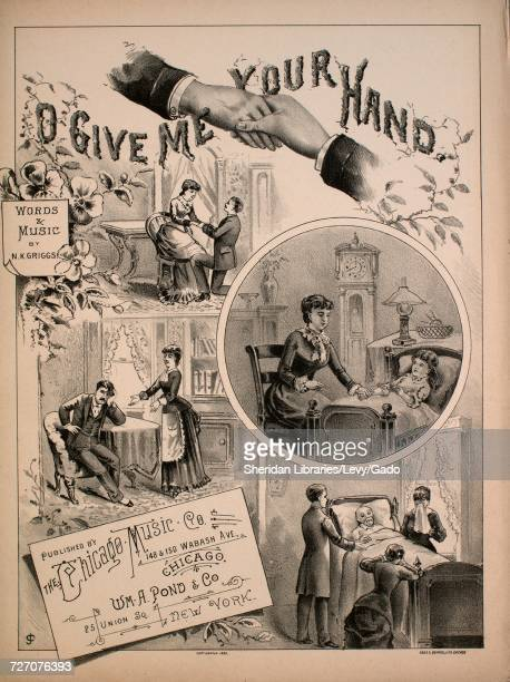 Sheet music cover image of the song 'O Give Me Your Hand' with original authorship notes reading 'Words and Music by NK Griggs' United States 1885...