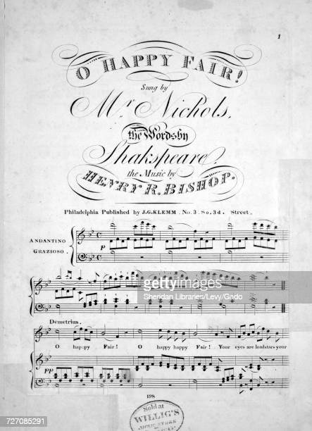 Sheet music cover image of the song 'O Happy Fair' with original authorship notes reading 'the Words by Shakespeare The Music by Henry R Bishop'...