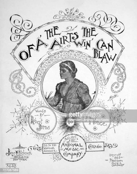 Sheet music cover image of the song 'Of A' The Airts The Win Can Blaw' with original authorship notes reading 'Words by Robert Burns Music by JP...
