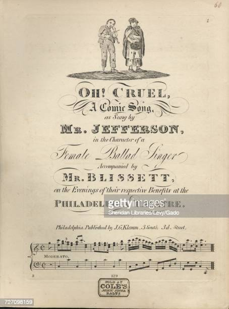 Sheet music cover image of the song 'Oh Cruel A Comic Song' with original authorship notes reading 'na' United States 1900 The publisher is listed as...