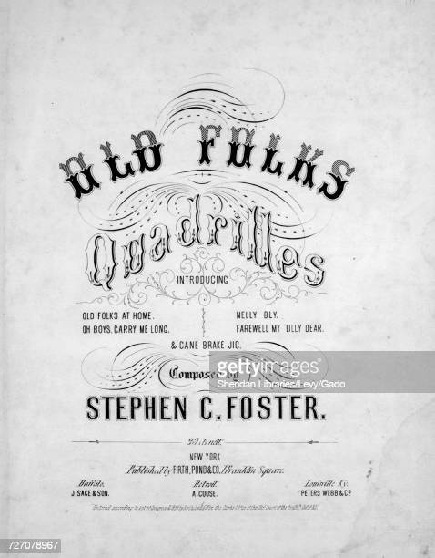 Sheet music cover image of the song 'Old Folks Quadrilles Introducing Old Folks At Home Oh Boys Carry Me Long Nelly Bly Farewell My Lilly Dear Cane...