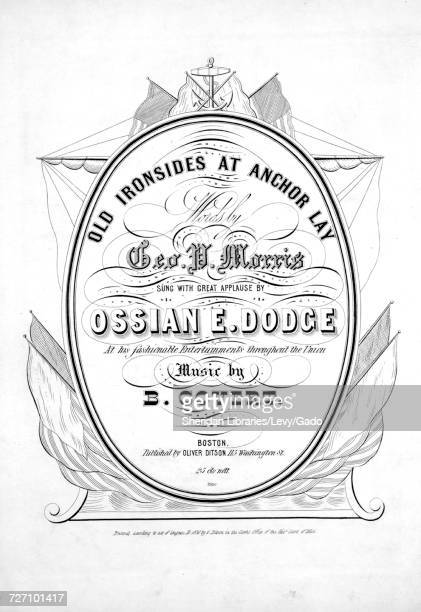 Sheet music cover image of the song 'Old Ironsides at Anchor Lay' with original authorship notes reading 'Words by Geo P Morris Music by B Covert'...