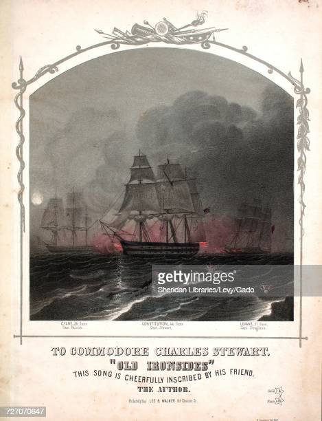 Sheet music cover image of the song 'Old Ironsides' with original authorship notes reading 'Words by Brainard Williamson Music by Charles T Frey'...