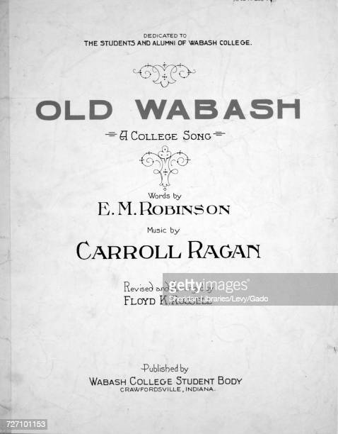 Sheet music cover image of the song 'Old Wabash A College Song' with original authorship notes reading 'Words by EM Robinson Music by Carroll Ragan...