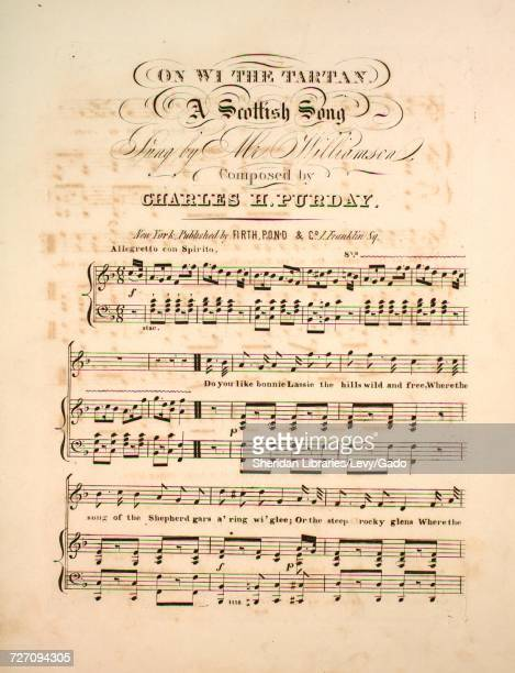 Sheet music cover image of the song 'On Wi' the Tartan A Scottish Song' with original authorship notes reading 'Composed by Charles H Purday' United...