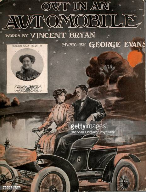 Sheet music cover image of the song 'Out in an Automobiles' with original authorship notes reading 'Words by Vincent Bryan Music by George Evans'...