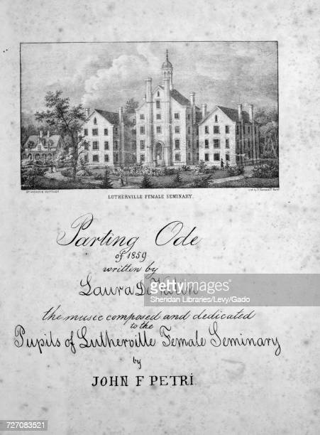 Sheet music cover image of the song 'Parting Ode of 1859' with original authorship notes reading 'Written by Laura De Valin The music composed by...