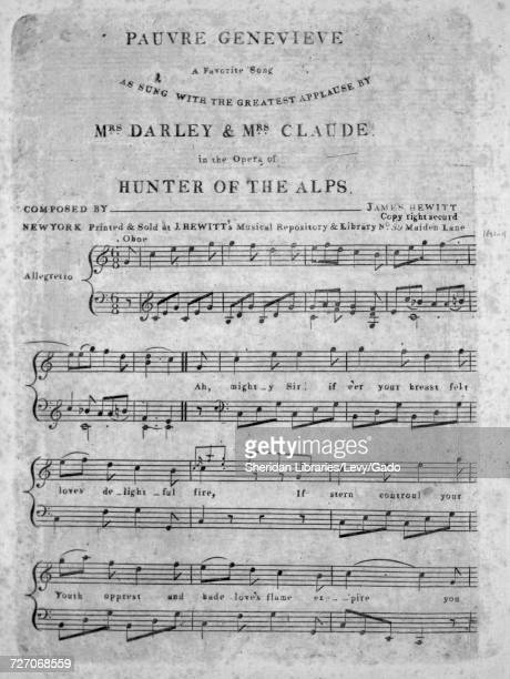 Sheet music cover image of the song 'Pauvre Genevieve A Favorite Song' with original authorship notes reading 'Composed by James Hewitt' United...