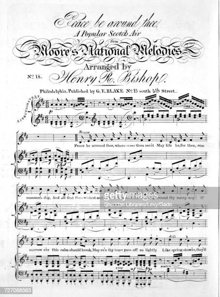 Sheet music cover image of the song 'Peace be Around Thee A Popular Scotch Air from Moore's National Melodies' with original authorship notes reading...