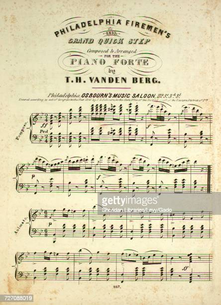 Sheet music cover image of the song 'Philadelphia Firemen's Grand Quick Step for 1843' with original authorship notes reading 'Composed and Arranged...